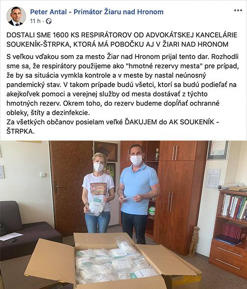 Poďakovanie mesta Žiar nad Hronom