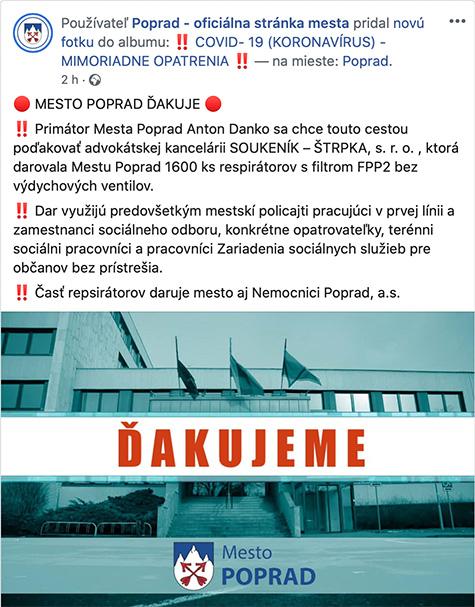 Poďakovanie mesta Poprad