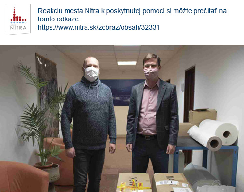Poďakovanie mesta Nitra